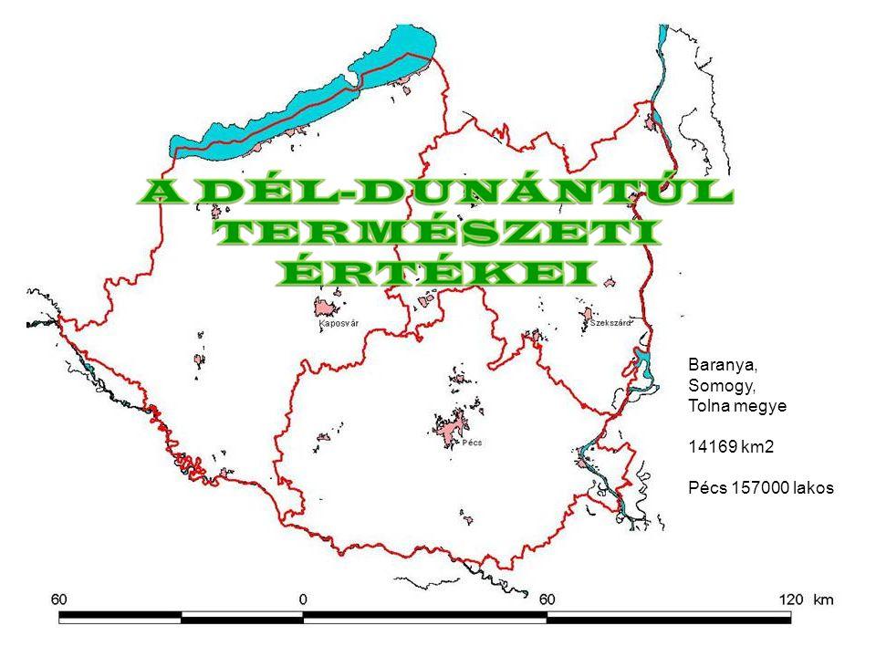 Baranya, Somogy, Tolna megye 14169 km2 Pécs 157000 lakos