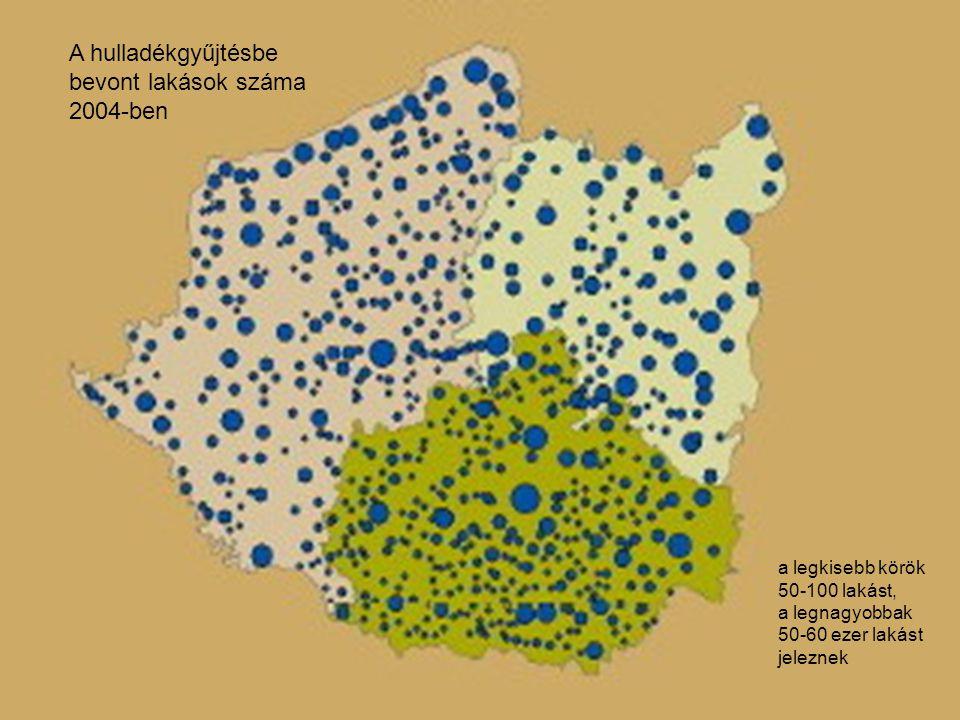 A hulladékgyűjtésbe bevont lakások száma 2004-ben a legkisebb körök 50-100 lakást, a legnagyobbak 50-60 ezer lakást jeleznek