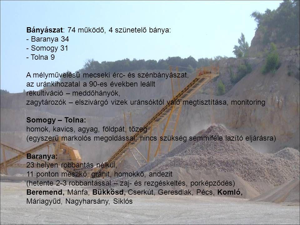 Bányászat: 74 működő, 4 szünetelő bánya: - Baranya 34 - Somogy 31 - Tolna 9 A mélyművelésű mecseki érc- és szénbányászat, az uránkihozatal a 90-es éve