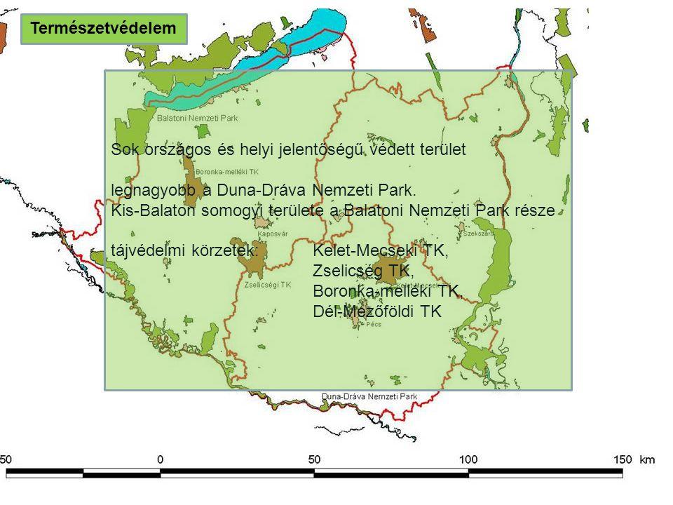 Természetvédelem Sok országos és helyi jelentőségű védett terület legnagyobb a Duna-Dráva Nemzeti Park. Kis-Balaton somogyi területe a Balatoni Nemzet