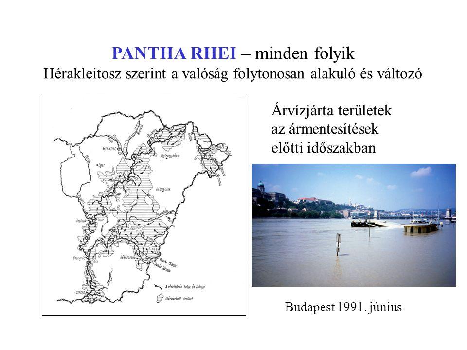 PANTHA RHEI – minden folyik Hérakleitosz szerint a valóság folytonosan alakuló és változó Árvízjárta területek az ármentesítések előtti időszakban Bud
