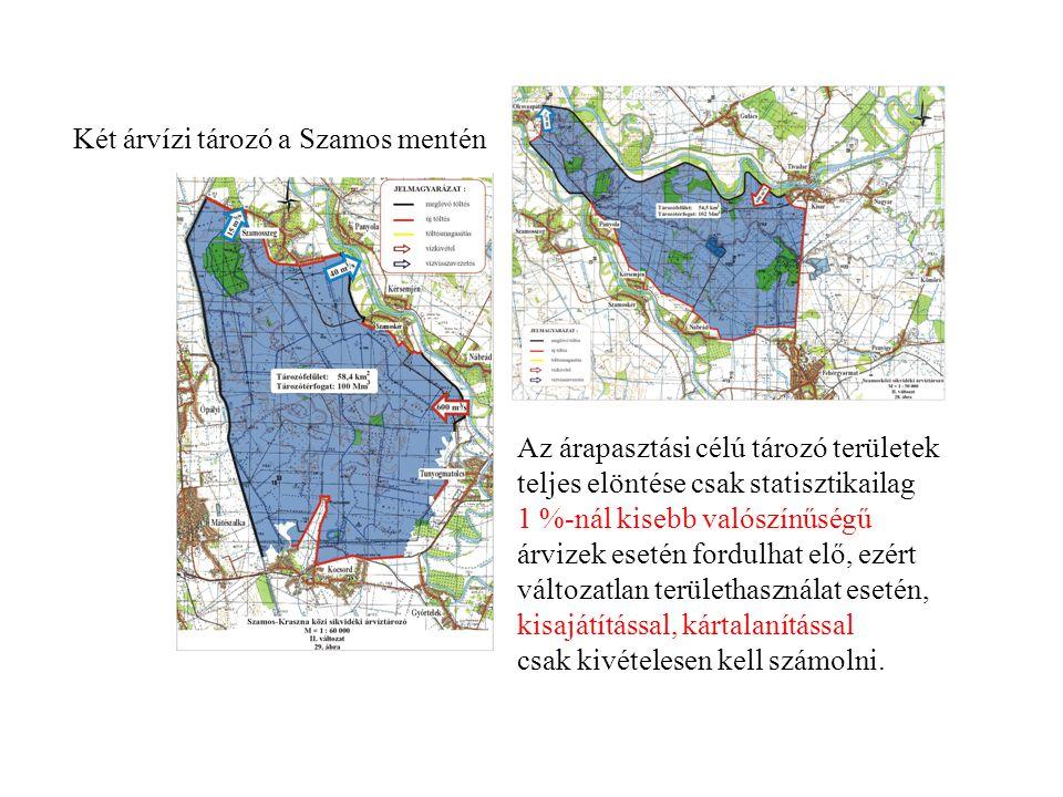 Két árvízi tározó a Szamos mentén Az árapasztási célú tározó területek teljes elöntése csak statisztikailag 1 %-nál kisebb valószínűségű árvizek eseté