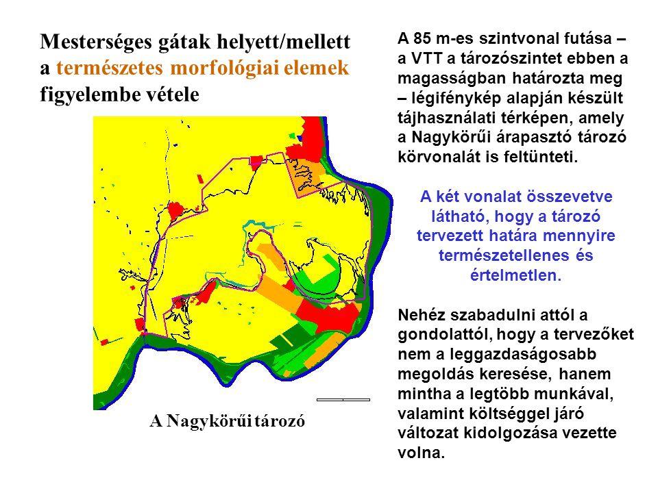 A 85 m-es szintvonal futása – a VTT a tározószintet ebben a magasságban határozta meg – légifénykép alapján készült tájhasználati térképen, amely a Na