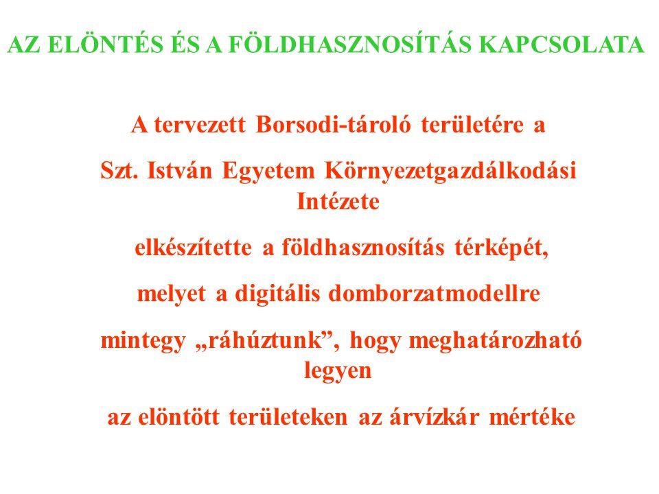 AZ ELÖNTÉS ÉS A FÖLDHASZNOSÍTÁS KAPCSOLATA A tervezett Borsodi-tároló területére a Szt. István Egyetem Környezetgazdálkodási Intézete elkészítette a f