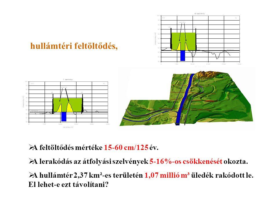 hullámtéri feltöltődés,  A feltöltődés mértéke 15-60 cm/125 év.  A lerakódás az átfolyási szelvények 5-16%-os csökkenését okozta.  A hullámtér 2,37