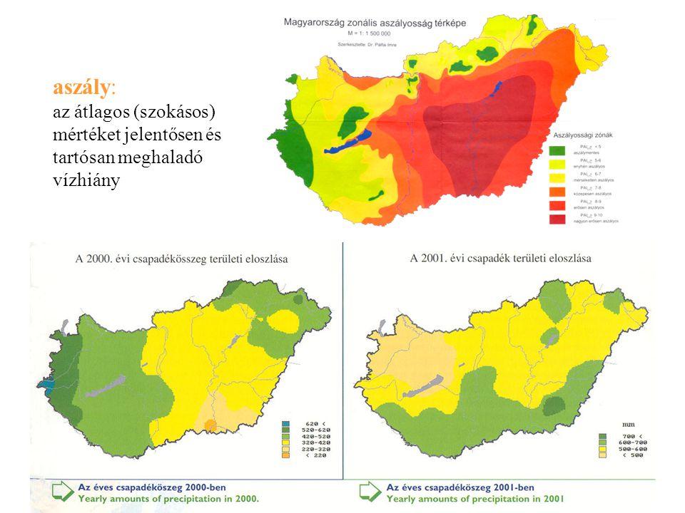 aszály: az átlagos (szokásos) mértéket jelentősen és tartósan meghaladó vízhiány