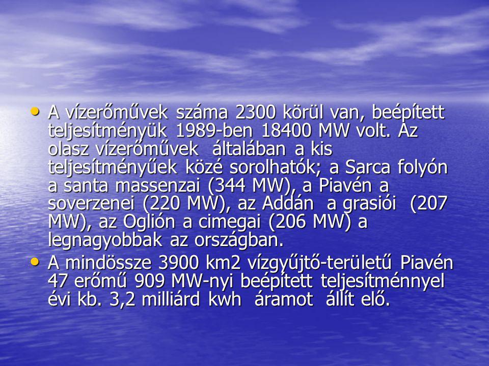 A vízerőművek száma 2300 körül van, beépített teljesítményük 1989-ben 18400 MW volt. Az olasz vízerőművek általában a kis teljesítményűek közé sorolha