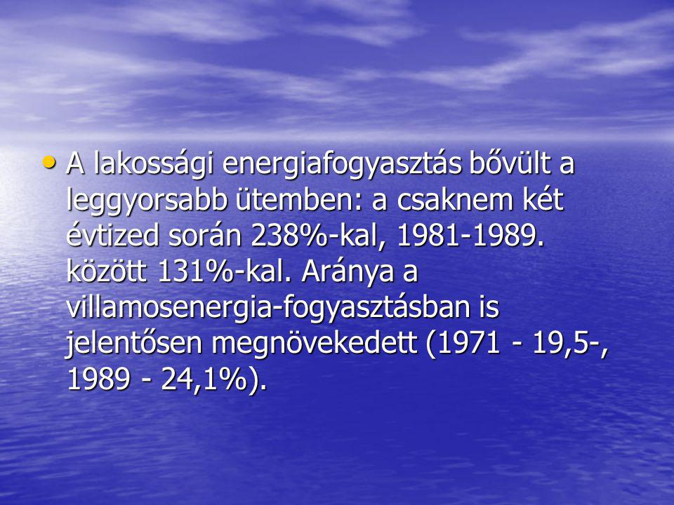 A lakossági energiafogyasztás bővült a leggyorsabb ütemben: a csaknem két évtized során 238%-kal, 1981-1989. között 131%-kal. Aránya a villamosenergia