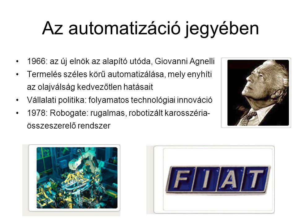 Az automatizáció jegyében 1966: az új elnök az alapító utóda, Giovanni Agnelli Termelés széles körű automatizálása, mely enyhíti az olajválság kedvezőtlen hatásait Vállalati politika: folyamatos technológiai innováció 1978: Robogate: rugalmas, robotizált karosszéria- összeszerelő rendszer