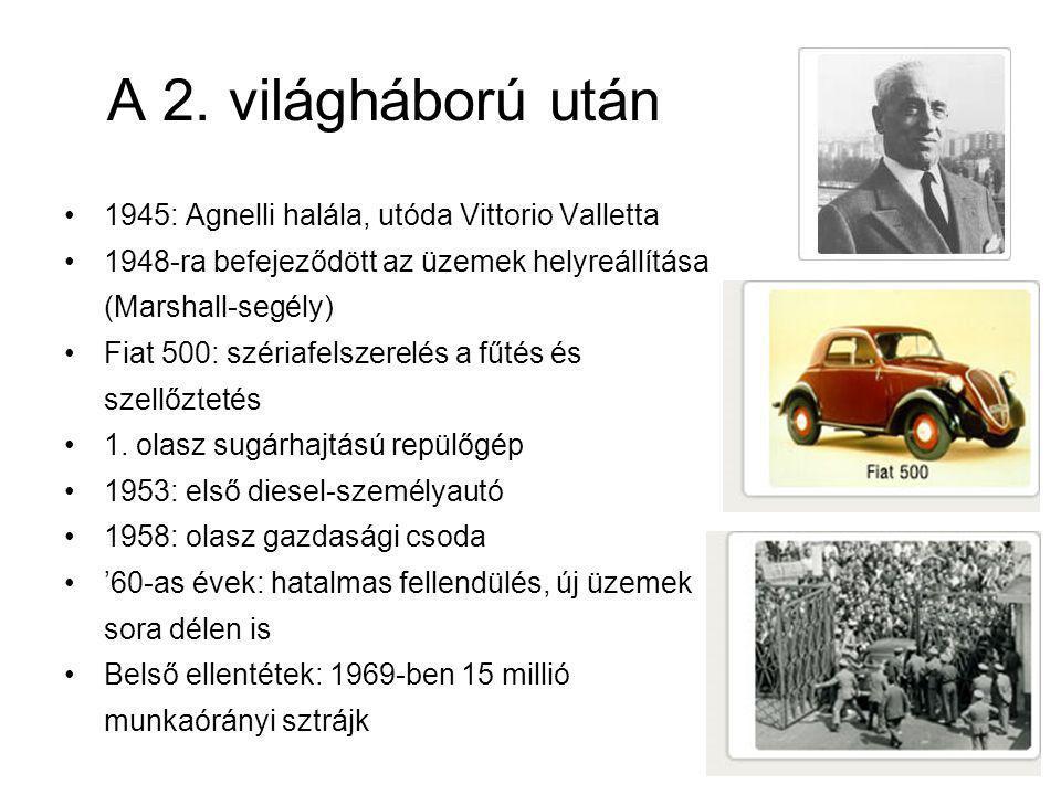 A 2. világháború után 1945: Agnelli halála, utóda Vittorio Valletta 1948-ra befejeződött az üzemek helyreállítása (Marshall-segély) Fiat 500: szériafe