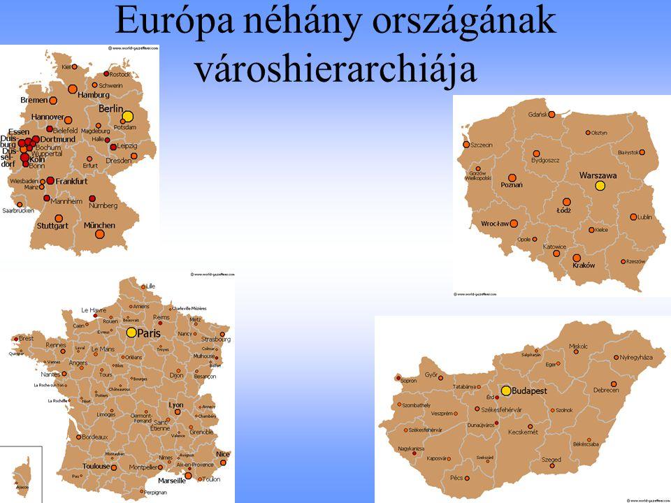 Az európai nagyvárosok hierarchiája funkcióik alapján felsőfokú oktatási funkció (állami felsőoktatási hallgatók száma, külföldi egyetemi hallgatók aránya) kulturális szerepkörök alapján (az állami múzeumok és galériák száma) globális gazdasági funkciók (világ legnagyobb nagyvállalatainak székhelye és azok összprofitja) turisztikai funkciók (szállodai férőhelyek, ágyak száma, nemzetközi szervezetek találkozói) légi közlekedési kapcsolatok (A legnagyobb forgalmat lebonyolító európai járatok, repülőterek forgalma, légi közlekedési kapcsolatok irányultsága)