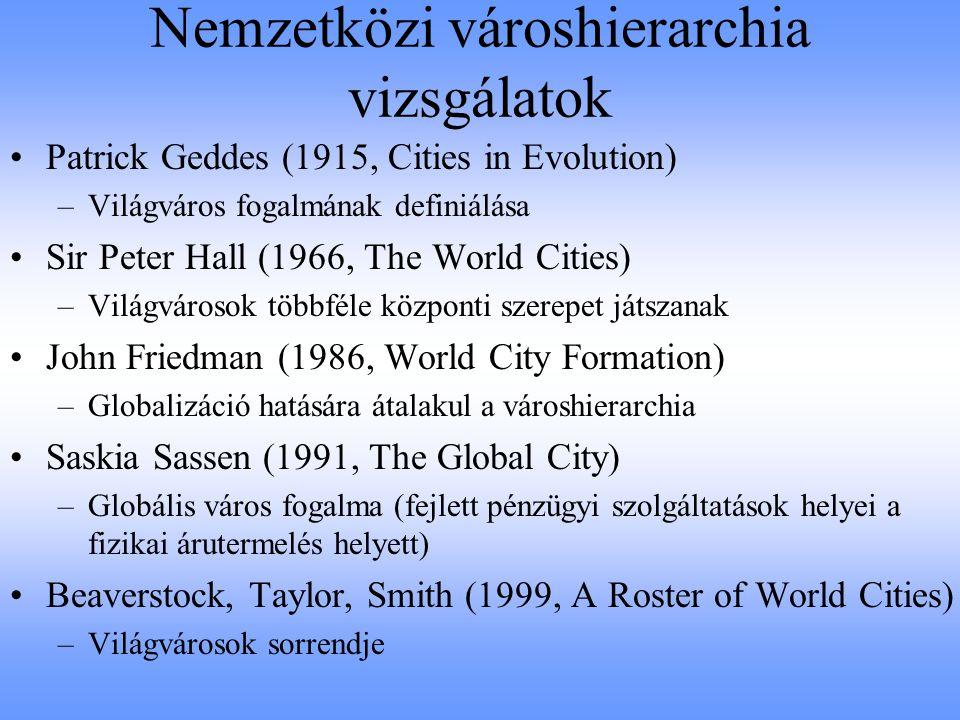 John Friedmann: világvárosok hierarchiája –1.Pénz, információ és javak áramlása –2.