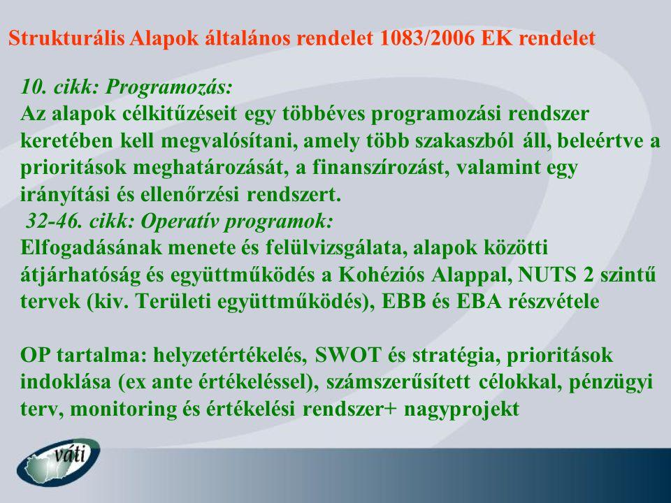 Strukturális Alapok általános rendelet 1083/2006 EK rendelet 10.