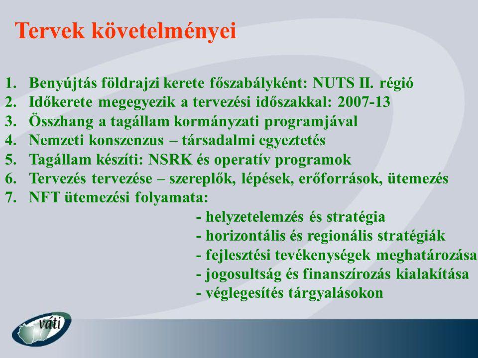 Tervek követelményei 1.Benyújtás földrajzi kerete főszabályként: NUTS II.