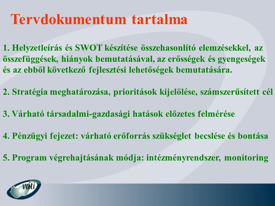 Tervdokumentum tartalma 1. Helyzetleírás és SWOT készítése összehasonlító elemzésekkel, az összefüggések, hiányok bemutatásával, az erősségek és gyeng