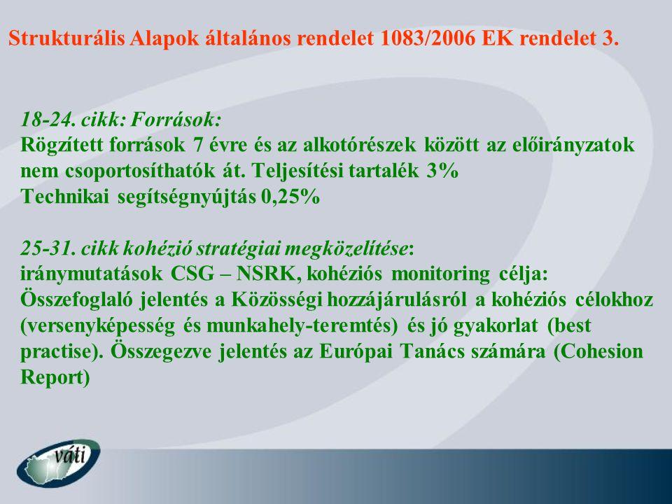 Strukturális Alapok általános rendelet 1083/2006 EK rendelet 3.