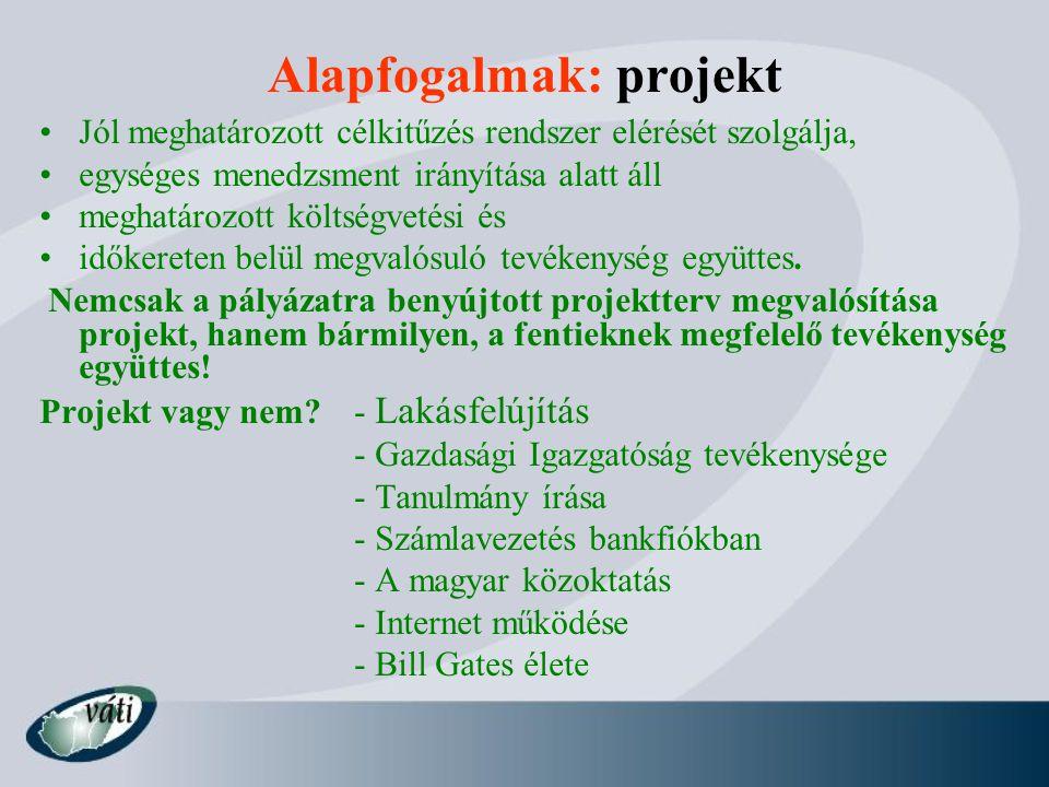 Alapfogalmak: projekt Jól meghatározott célkitűzés rendszer elérését szolgálja, egységes menedzsment irányítása alatt áll meghatározott költségvetési