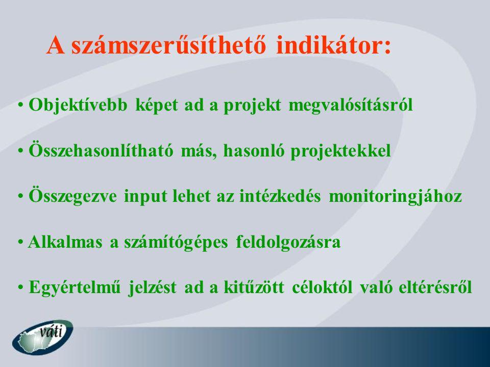 Indikátorok kritériumai 1.QQTTP mennyiségi (quantity) mennyit.