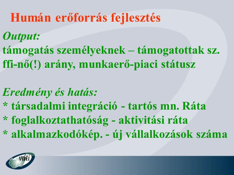 Humán erőforrás fejlesztés Output: támogatás személyeknek – támogatottak sz. ffi-nő(!) arány, munkaerő-piaci státusz Eredmény és hatás: * társadalmi i