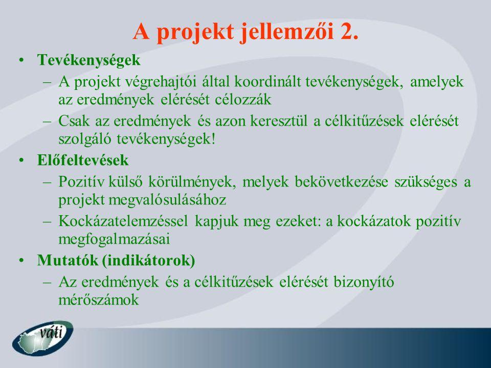 A projekt jellemzői 2. Tevékenységek –A projekt végrehajtói által koordinált tevékenységek, amelyek az eredmények elérését célozzák –Csak az eredménye