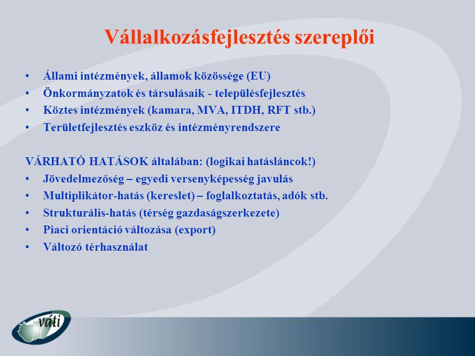 Vállalkozásfejlesztés szereplői Állami intézmények, államok közössége (EU) Önkormányzatok és társulásaik - településfejlesztés Köztes intézmények (kam