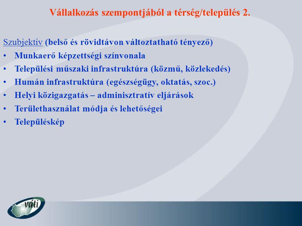 Vállalkozás szempontjából a térség/település 2. Szubjektív (belső és rövidtávon változtatható tényező) Munkaerő képzettségi színvonala Települési műsz