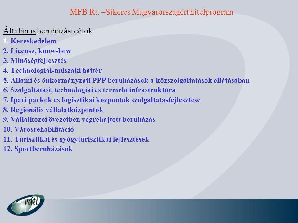 Általános beruházási célok 1. Kereskedelem 2. Licensz, know-how 3. Minőségfejlesztés 4. Technológiai-műszaki háttér 5. Állami és önkormányzati PPP ber