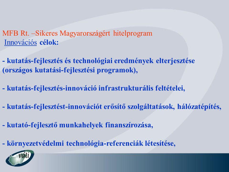 MFB Rt. –Sikeres Magyarországért hitelprogram Innovációs célok: - kutatás-fejlesztés és technológiai eredmények elterjesztése (országos kutatási-fejle