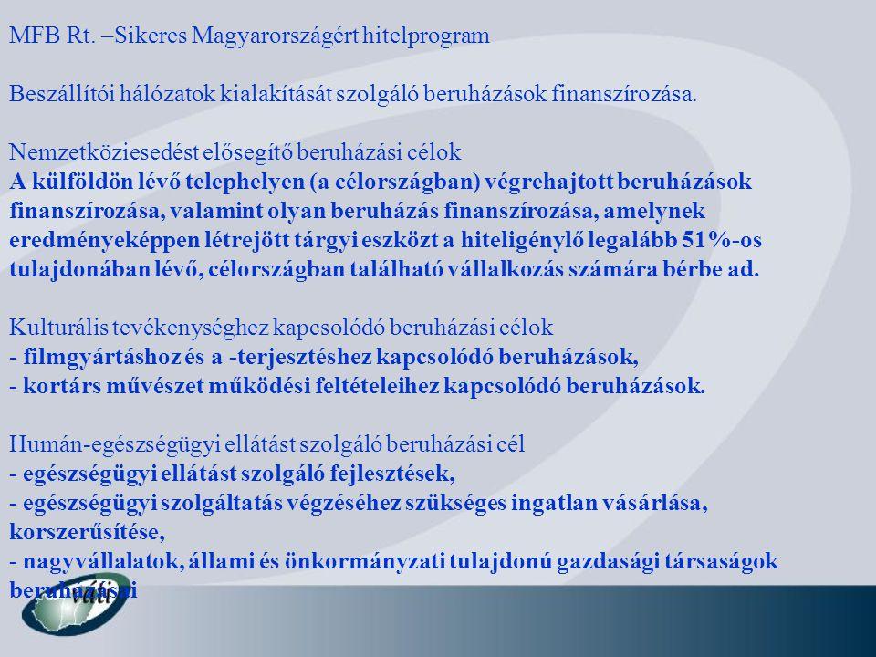 MFB Rt. –Sikeres Magyarországért hitelprogram Beszállítói hálózatok kialakítását szolgáló beruházások finanszírozása. Nemzetköziesedést elősegítő beru