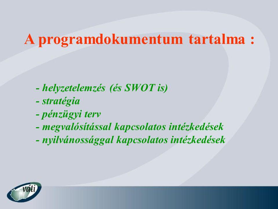 A programdokumentum tartalma : - helyzetelemzés (és SWOT is) - stratégia - pénzügyi terv - megvalósítással kapcsolatos intézkedések - nyilvánossággal