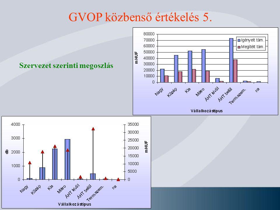 GVOP közbenső értékelés 5. Szervezet szerinti megoszlás