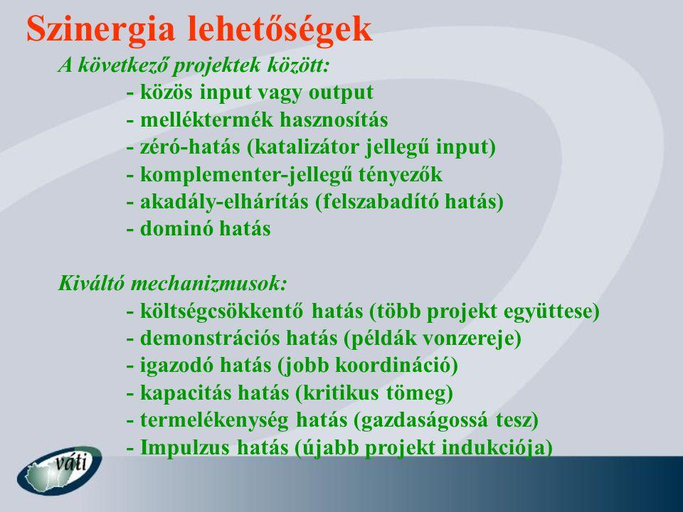 Szinergia lehetőségek A következő projektek között: - közös input vagy output - melléktermék hasznosítás - zéró-hatás (katalizátor jellegű input) - ko