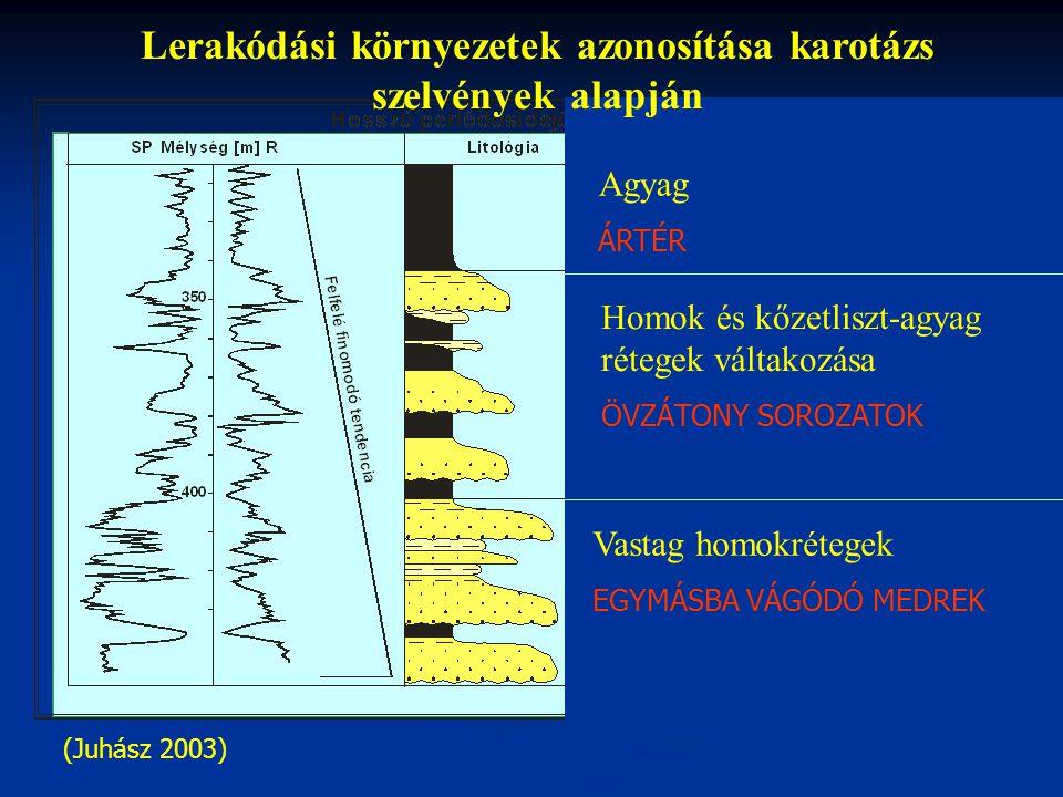 (Juhász 2003) Lerakódási környezetek azonosítása karotázs szelvények alapján Vastag homokrétegek EGYMÁSBA VÁGÓDÓ MEDREK Agyag ÁRTÉR Homok és kőzetliszt-agyag rétegek váltakozása ÖVZÁTONY SOROZATOK