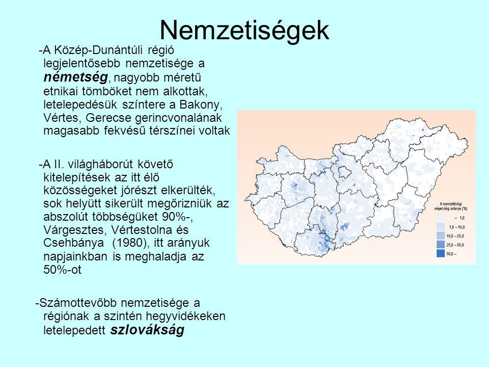 Nemzetiségek -A Közép-Dunántúli régió legjelentősebb nemzetisége a németség, nagyobb méretű etnikai tömböket nem alkottak, letelepedésük színtere a Ba