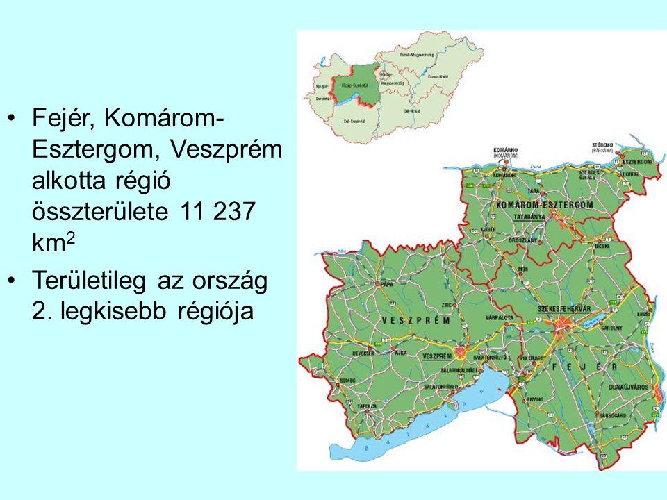 Fejér, Komárom- Esztergom, Veszprém alkotta régió összterülete 11 237 km 2 Területileg az ország 2. legkisebb régiója