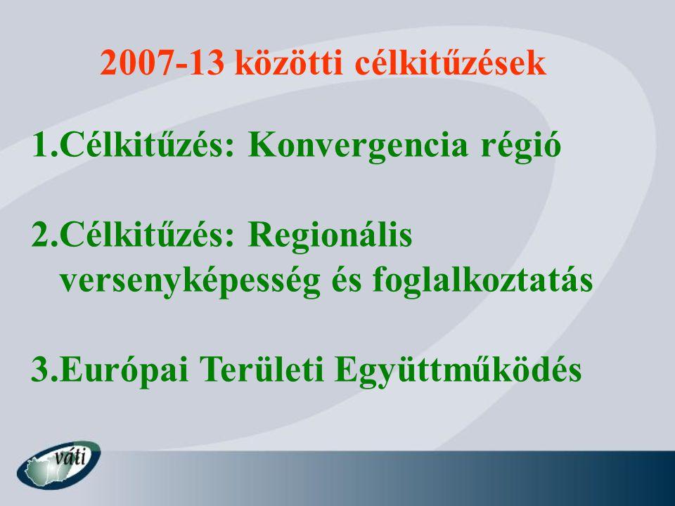 2007-13 közötti célkitűzések 1.Célkitűzés: Konvergencia régió 2.Célkitűzés: Regionális versenyképesség és foglalkoztatás 3.Európai Területi Együttműködés