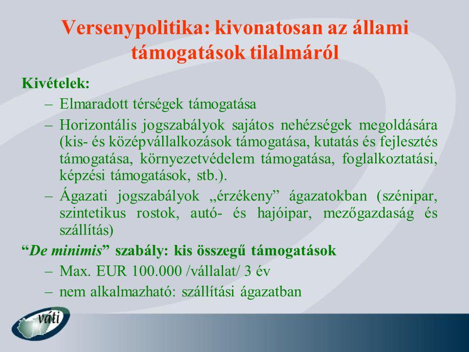 Versenypolitika: kivonatosan az állami támogatások tilalmáról Kivételek: –Elmaradott térségek támogatása –Horizontális jogszabályok sajátos nehézségek