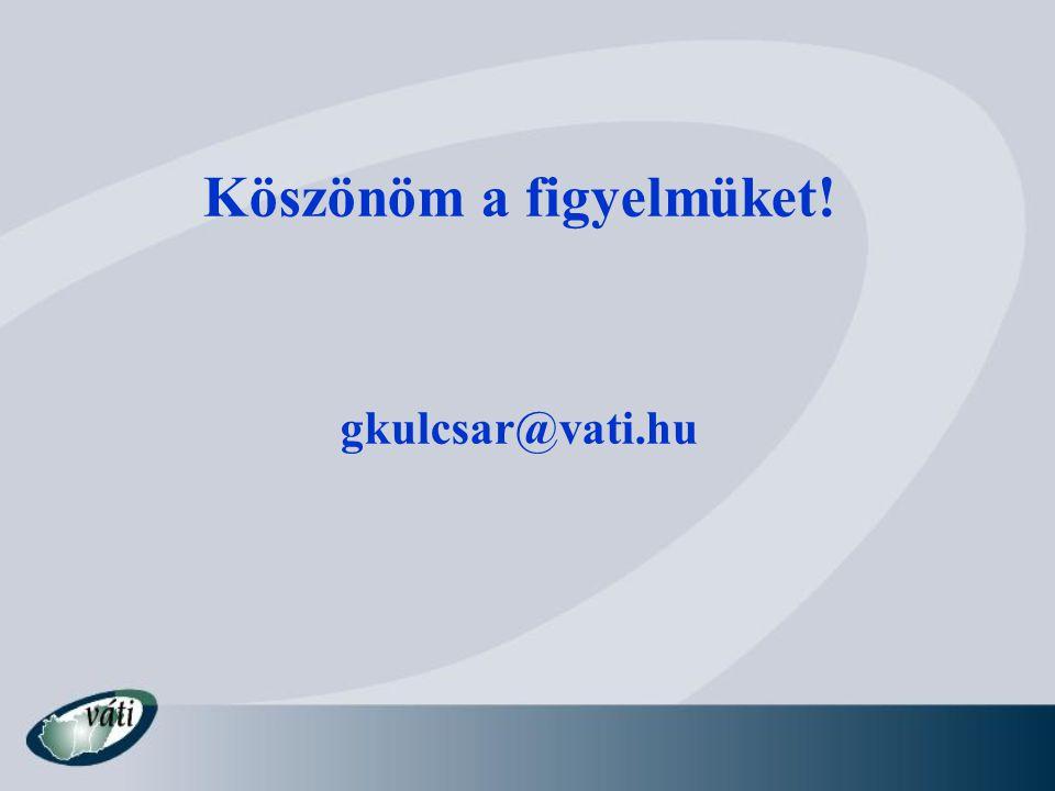 Köszönöm a figyelmüket! gkulcsar@vati.hu