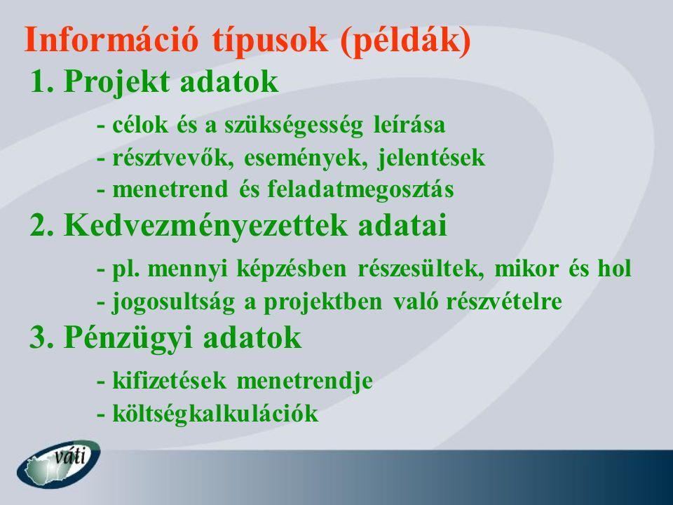 Információ típusok (példák) 1.