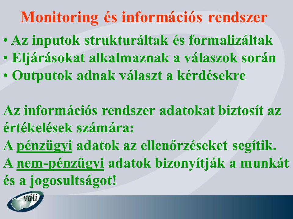 Monitoring és információs rendszer Az inputok strukturáltak és formalizáltak Eljárásokat alkalmaznak a válaszok során Outputok adnak választ a kérdésekre Az információs rendszer adatokat biztosít az értékelések számára: A pénzügyi adatok az ellenőrzéseket segítik.