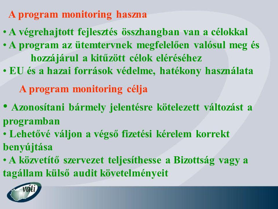 A program monitoring haszna A végrehajtott fejlesztés összhangban van a célokkal A program az ütemtervnek megfelelően valósul meg és hozzájárul a kitűzött célok eléréséhez EU és a hazai források védelme, hatékony használata Azonosítani bármely jelentésre kötelezett változást a programban Lehetővé váljon a végső fizetési kérelem korrekt benyújtása A közvetítő szervezet teljesíthesse a Bizottság vagy a tagállam külső audit követelményeit A program monitoring célja