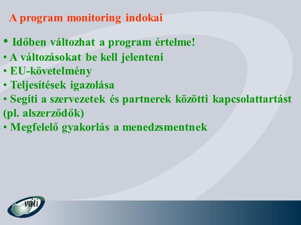 A program monitoring indokai Időben változhat a program értelme.
