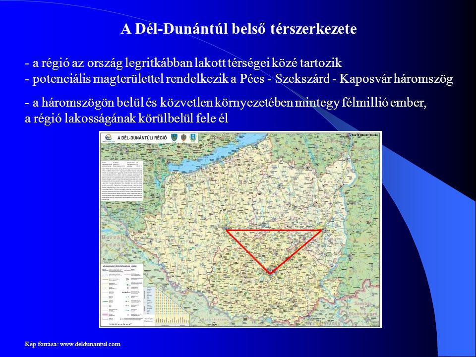 A Dél-Dunántúl belső térszerkezete - a régió az ország legritkábban lakott térségei közé tartozik - potenciális magterülettel rendelkezik a Pécs - Sze