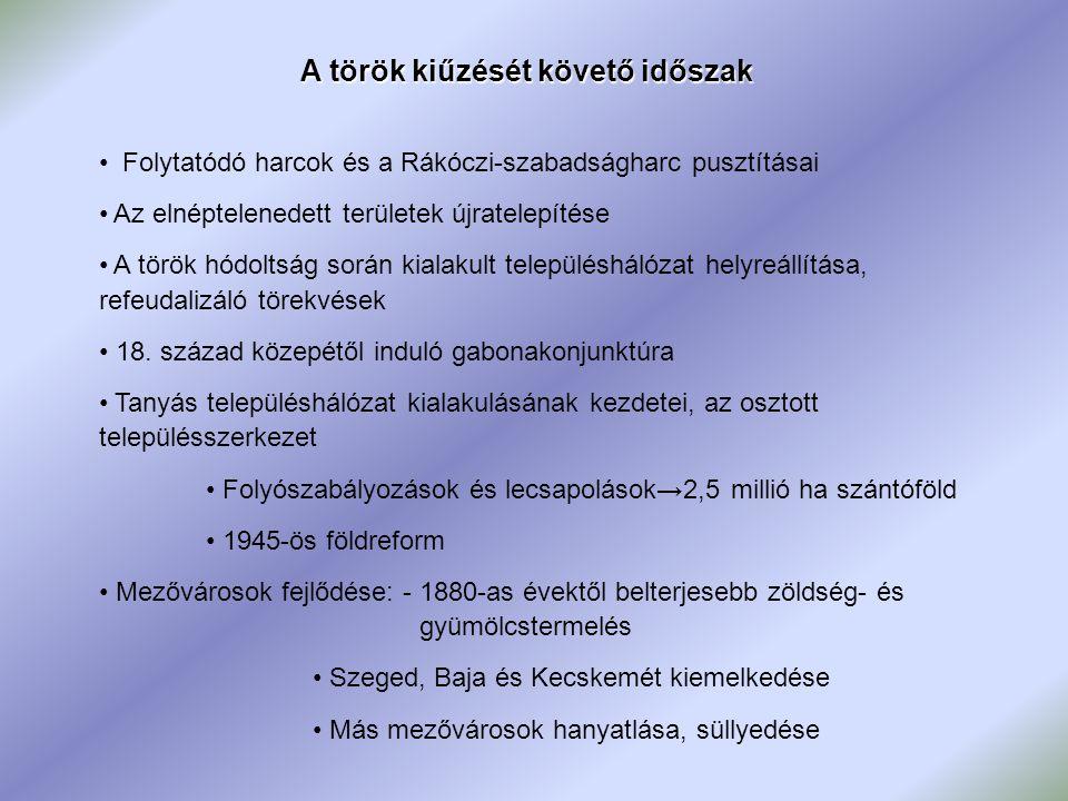 A török kiűzését követő időszak Folytatódó harcok és a Rákóczi-szabadságharc pusztításai Az elnéptelenedett területek újratelepítése A török hódoltság során kialakult településhálózat helyreállítása, refeudalizáló törekvések 18.