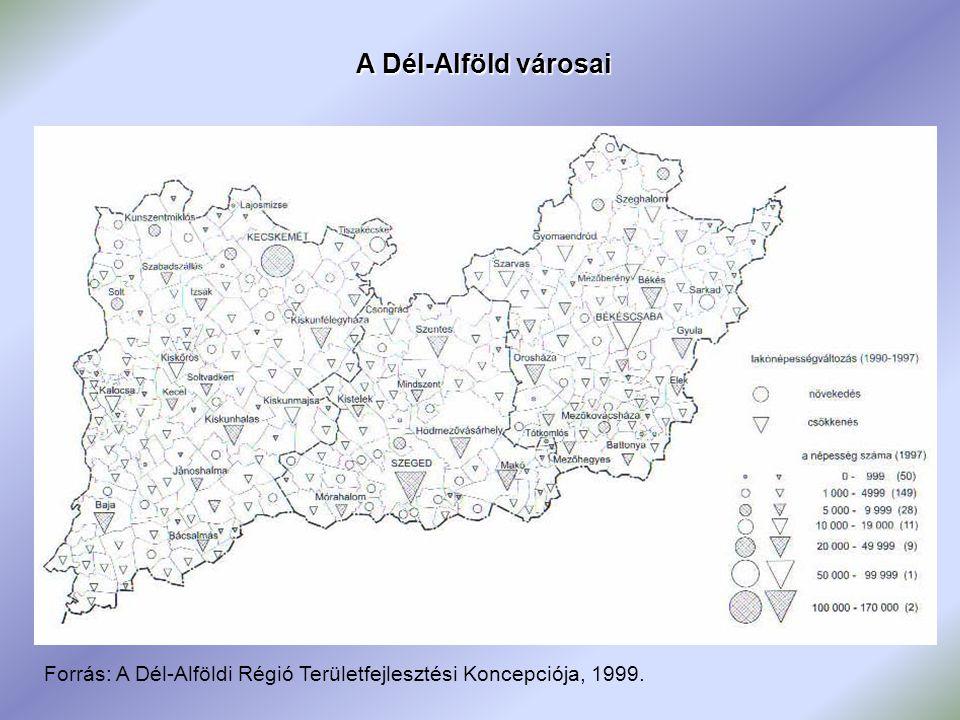 A Dél-Alföld városai Forrás: A Dél-Alföldi Régió Területfejlesztési Koncepciója, 1999.