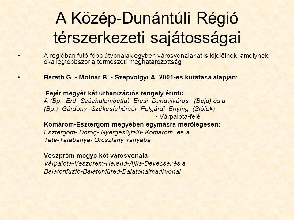 A Közép-Dunántúli Régió térszerkezeti sajátosságai A régióban futó főbb útvonalak egyben városvonalakat is kijelölnek, amelynek oka legtöbbször a term