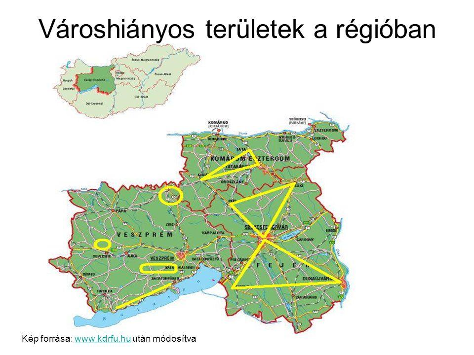 Városhiányos területek a régióban Kép forrása: www.kdrfu.hu után módosítvawww.kdrfu.hu
