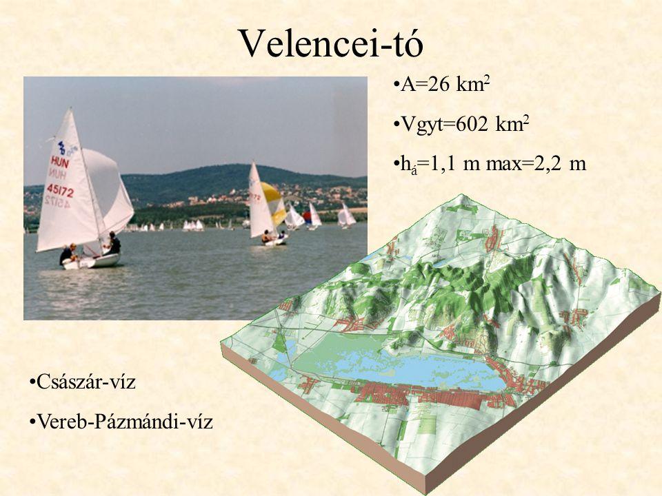 Velencei-tó A=26 km 2 Vgyt=602 km 2 h á =1,1 m max=2,2 m Császár-víz Vereb-Pázmándi-víz