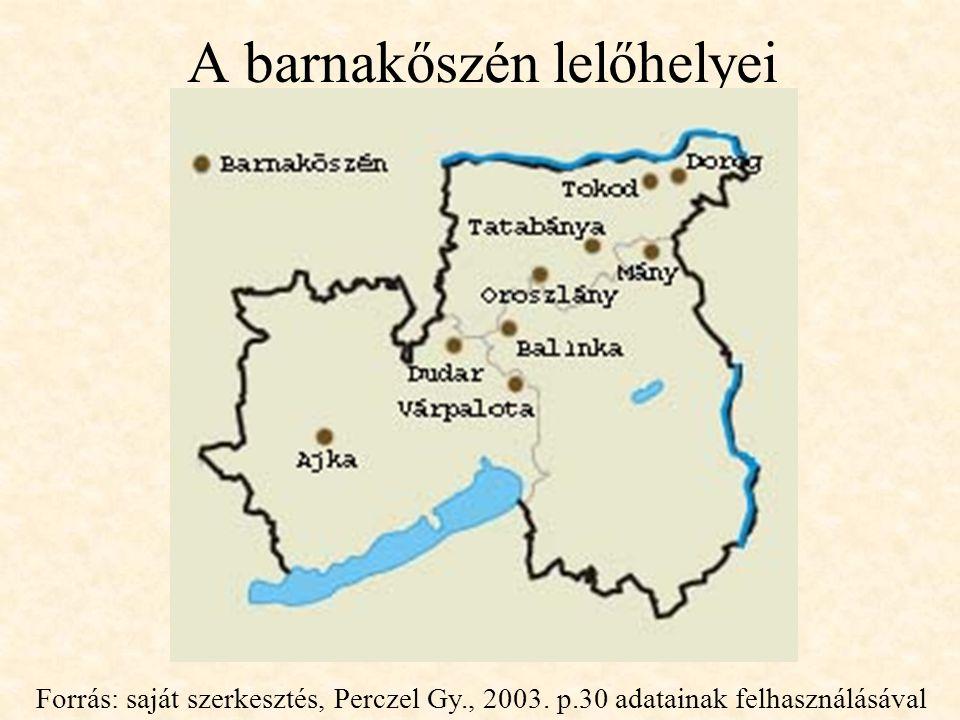 A barnakőszén lelőhelyei Forrás: saját szerkesztés, Perczel Gy., 2003.