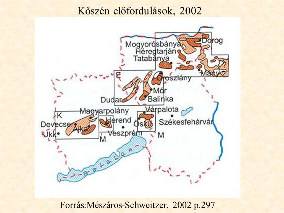 Kőszén előfordulások, 2002 Forrás:Mészáros-Schweitzer, 2002 p.297